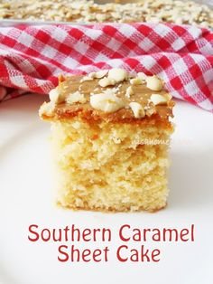 Southern Caramel Sheet Cake, topped with dulce de leche and salted peanuts....from scratch!!