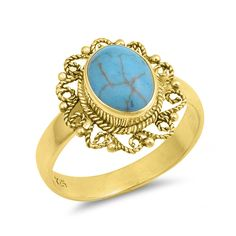 Yellow Gold Oval Turquoise Filigree .925 Sterling Silver Ring Sizes 6-10 #Unbranded #Cocktail