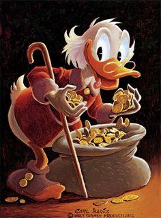 Miser's Hangup by Carl Barks. Walt Disney Co, Disney Duck, Disney Family, Disney Art, Disney Pixar, Cartoon Books, Cartoon Characters, Dagobert Duck, Autograph Book Disney
