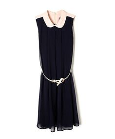Sleeveless Chiffon Dress with Peter Pan Collar - Party Dresses - Dresses - Clothing
