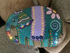 Happy Rock - Whimsical Elephant - Hand-Painted River Rock
