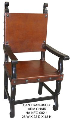 Friar Leather arm chair, inspired by Italian Tuscan Style, hand carved with real leather. Call for pricing when buying a set Hand Painted Furniture, Handmade Furniture, Unique Furniture, Tuscan Style Homes, Tuscan House, Tuscan Furniture, Rustic Furniture, Rustic Style, Rustic Decor
