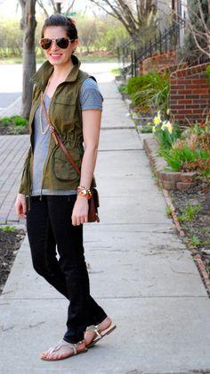 army green vest + grey + gold.  Found my army vest at TJ Maxx!!