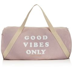 Spiritual Gangster Good Vibes Only Gym Bag found on Polyvore featuring bags, blush, spiritual gangster, brown bag, gym bag and cotton bags
