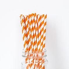 Orange Striped Straw