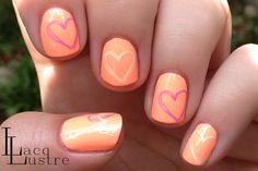 Neon Heart Nail Art w/ China Glaze Sun of a Peach and That's Shore Bright