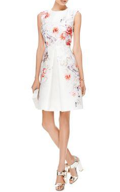 Pleated Floral-Print Satin-Twill Dress by Giambattista Valli - Moda Operandi