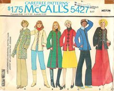 1977 McCall's Sewing Pattern # 5427 Misses Unlined Coat or Jacket Sz 14-16 #McCalls #UnlinedCoatorJacket