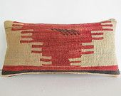 cream coral red unusual pattern kilim pillow lumbar throw pillow kilim cushion floor pillow outdoor pillow turkish decorative pillow cover