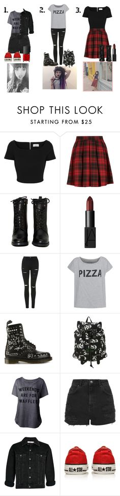 """Rena Lovelis Inspired Outfits."" by sophie-irwin ❤ liked on Polyvore featuring Preen, Report, NARS Cosmetics, Topshop, Dr. Martens, Converse, GetTheLook, music, Inspired and heyviolet"