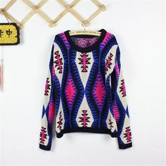 Funshop Woman's Rhombus Pattern Round Neck Sweater 081220 Color Navy