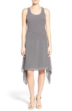 MICHAEL MICHAEL KORS 'Voyage Stripe' Scoop Neck Georgette Drop Yoke Dress. #michaelmichaelkors #cloth #