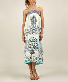 d0cc1fa656 Anmol Turquoise Pleated Halter Maxi Dress - Plus Too