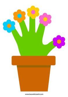 fiori con la mano per la festa della donna