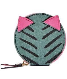 Fossil Keely Zip Coin Purse Kitty Cat Herringbone