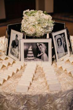 vintage photos wedding escort card idea / http://www.himisspuff.com/ideas-to-display-wedding-photos/7/
