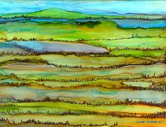 ACROSS THE FIELDS  ACROSS THE FIELDS ALCOHOL INK & MICRON PEN ON YUPO PAPER i enjoyed the simplicity of this one...:) ♥