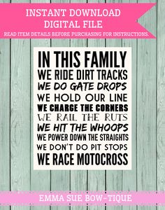 Motocross Family Rules Sign Digital File by EmmaSueBowtique Motocross Quotes, Dirt Bike Quotes, Motocross Baby, Dirt Bike Room, Dirt Bike Party, Family Rules Sign, Family Quotes, Nitro Circus, Triumph Motorcycles