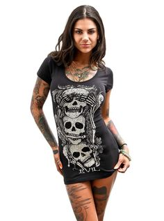 "Women's ""See, Speak, Hear No Evil"" Tee by Jawbreaker (Black) #inkedshop #hearnoevil #skulls #speakhearsee"