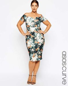 ASOS curve | ASOS CURVE Exclusive Body-Conscious Dress In Print With Cross Back #asoscurve #dress
