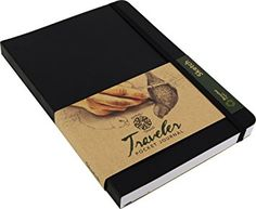 Pentalic Traveler Pocket Journal Sketch, 6-Inch by 8-Inch, Black