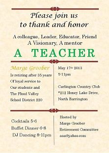 Blackboard Teacher's Retirement Invitation 2 | retirement party ...