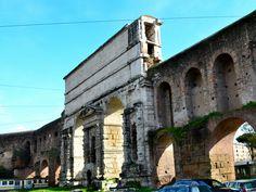 Porta Maggiore |  Rome, 41-52 AD. Two aqueducs are crossed at Porta Maggiore. The gate made of travertin cut stone construction.
