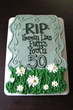 Over The Hill Birthday Tombstone Cupcake Cake