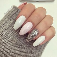 White pink and glitter coffin nails