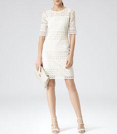 Womens Ivory Crochet Detail Dress - #Reiss Isabella
