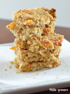My eldest was at school today, so thought I would put together some flapjacks, so that he could have one for a snack when he got home. I wanted to make them suitable for my little one too. The resu… Baby Food Recipes, Great Recipes, Cooking Recipes, Veggie Recipes, Apricot Dessert, Jack Food, Flapjack Recipe, Apricot Recipes, Small Desserts