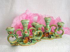 Chandeliers en porcelaine ancienne Bougeoirs de par VintageSyell