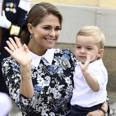 9 September 2016 - Princess Madeleine and her family attend Prince Alexander's Christening - dress by Erdem