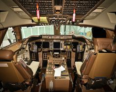 The cockpit of a Boeing 747-400 sat in the jump seat behind the pilot upon landing at London Heathrow Airport ( obviously per 911).