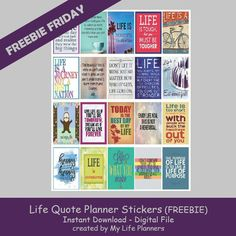 "Another Freebie Friday is here.  I've been feeling a bit nostalgic this week and thinking about life. There is a quote that says, ""Life is what happens when you are busy making plans.""  This week I'm turning it around and featuring Life Quotes to add some life to our planners. The stickers will fit mostRead More"