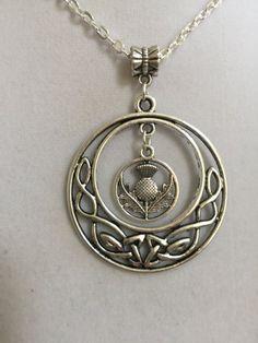 Silver Celtic design and Scottish thistle pendant