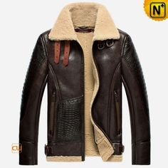 Warm shearling aviator jacket crafted from superior sheepskin shearling material, CWMALLS sheepskin flight jacket featuring double buckle straps at shearling collar, Croc embossed leather at sleeve and front patch, brass hardware, and leather waist belt. Cool Jackets For Men, Revival Clothing, Sheepskin Jacket, Aviator Jackets, Bomber Jacket Men, Leather Bomber Jackets, Cargo Jacket, Shearling Jacket, Jacket Style