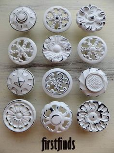12 Misfit Shabby Chic White Knobs Vintage Hardware by Firstfinds, $70.00