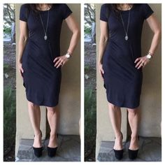 Faux suede gorgeous dress Chic gorgeous black faux suede dress fits amazing PLEASE comment on the size you want (when your ready to purchase) and allow me to make you a personalized listing BUNDLE AND SAVE 10% Dresses