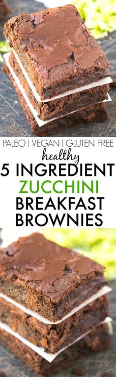 Healthy 5 Ingredient Flourless Zucchini BREAKFAST BROWNIES- Moist, gooey and secretly healthy, these super fudgy brownies have NO flour, NO grains, NO sugar and NO butter! {vegan, gluten free, paleo r