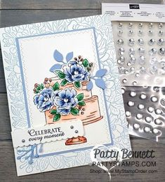 Stampin' Up! Happy Birthday To You Stampin Up Sale-a-Bration cake stamp set - colored with Stampin\' Blends markers by Patty Bennett. Background: Breathtaking Bouquet set stamped in Seaside Spray. Frosted Enamel Dots for flower centers. Birthday Cake Card, Happy Birthday Cards, Birthday Bouquet, Happy Birthdays, Birthday Greetings, Birthday Wishes, Birthday Parties, Scrapbooking, Flower Center