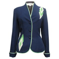#SWAG: 70s Lilli Ann Blazer - Blue Suede with Green & White detailing - God I want this! £155