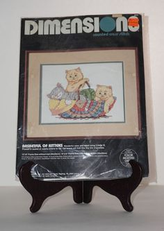 """Dimensions NEW Basketful of Kittens Cat Yarn 12"""" x 9"""" Counted Cross Stitch Kit #Dimensions #Picture"""