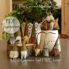 5 MINI Gnome PDF Sewing Patterns Five Different Hats Gnome | Etsy