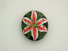 Queen Sophia-day lily blossom-painted rocks-paperweight-get well gift idea-birthday-Easter-Mothers Day-home office decor-ooak 3D art-for her