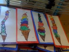 the tallest ice cream cone - all your favourite flavours, don't forget the melting drips, and a cherry on top Kindergarten Art Projects, School Art Projects, Spring Art, Summer Art, Art Lessons For Kids, Art For Kids, Ice Cream Art, Warm And Cool Colors, Bright Colors