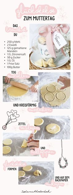 """Fortune cookies recipe for Mother& Day-Glückskekse Rezept zum Muttertag Mom, I love you! """"- it is said that it is said far too rarely to his mom. On Mother& Day we have the opportunity to shower our personal superhero with a lot of love. Cookies Healthy, Mom Day, Fortune Cookie, You Are The Father, Biscuits, Clipart, Xmas Gifts, Diy Gifts, Cookie Recipes"""