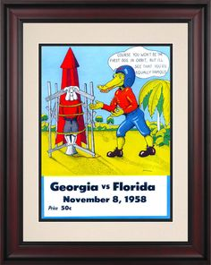 1958 Florida Gators vs Georgia Bulldogs 10 1/2 x 14 Framed Historic Football Poster