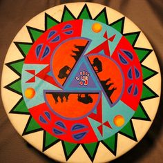 13 inch hand painted hand drum painted on deer hide with acrylic paint. Edward Two Eagle, Lakota