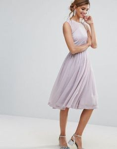 ASOS PREMIUM Midi Dress With Ruched Panel Detail